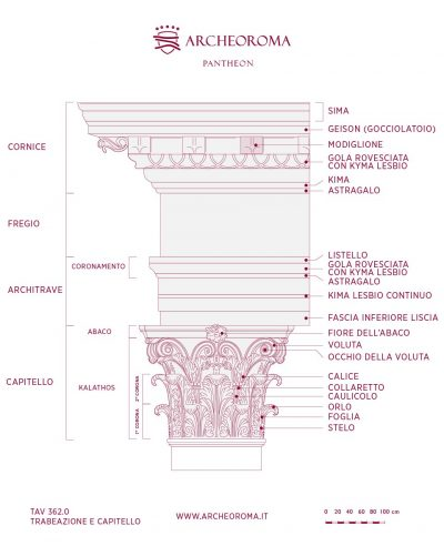 Nomenclature capitello corinzio e trabeazione del Pantheon di Roma