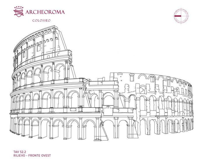 Rilievo architettonico del Colosseo (Anfiteatro Flavio), fronte ovest
